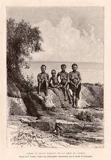 FEMME SEINS NUS ENFANT PAHOUINS OGOOUE WOMEN KIDS GABON GRAVURE ENGRAVING 1888