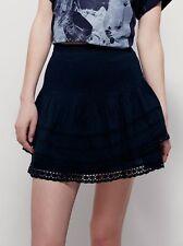 142153 New $88 Free People Summer's Night Black Pintuck Lace Mini Skirt L 12
