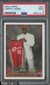 "2003-04 Topps #221 LeBron James Cavaliers RC Rookie PSA 9 MINT "" PACK FRESH """