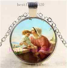 Mary & Jesus Photo Cabochon Glass Dome Silver Chain Pendant Necklace