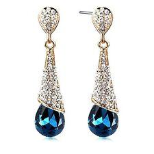 New Women's Gold Filled Crystal Cone Gemstone Long Drop Earrings  UKGM199