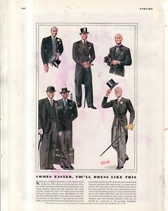 1938 How to dress for Easter - Tails, shoes, jackets hats by Laurence Fellows