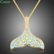 Fashion Blue Enamel Mermaid Tail Pendant Necklace Women Yellow Gold Jewelry Gift