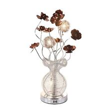 Classy Handmade Coffee Flowers Silver Aluminium Wired Vase LED Lamp