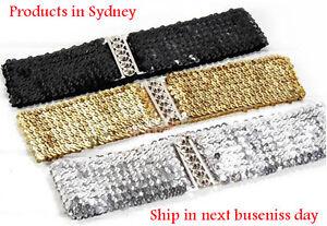 NEW Women Lady Gold Silver Shine Bling Sequins Elastic Waistband Waist band Belt