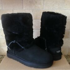 UGG ALAIA WATER-RESISTANT BLACK SUEDE FUR CUFF SHORT BOOTS SIZE US 7 WOMENS NIB