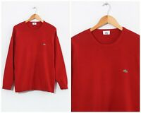 90s Vintage Mens LACOSTE Sweater Jumper Knitted Red Size XL