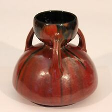 Vintage French Deco Studio Art Pottery Chrome Nouveau Orange Drip Glaze Vase