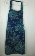 Vtg Tori Richard Dress Galabash House Honolulu Halter Blue Green Floral Print