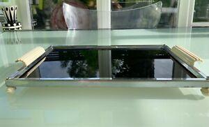 Art Deco chrome and glass tray