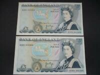 1973 PAIR PAGE FIVE POUNDS NEAR UNCIRCULATED CONSECUTIVE DUGGLEBY B336. £5 NOTE.