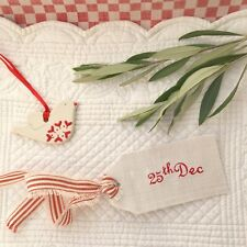 25th Dec Vintage Linen Label Christmas Decoration Susie Watson Red Piping Stripe