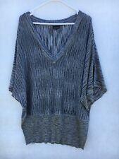 🍃Womens City Chic Metallic Striped Dolman Batwing Sleeve Blouse Knit Top Size L