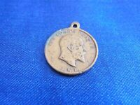 ANTIQUE COPPER EDWARD VII LORDS PRAYER TOKEN PENDANT 1900s RELIGIOUS JEWELLERY