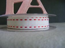 "5/8"" (15mm) Stitched Grosgrain Ribbon - By the Metre - #4503 White & Red"
