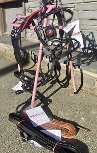 Complete Mini Shetland Leather Breastplate Harness- Black, Patent&Red. Tan Reins