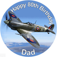 "Spitfire  PERSONALISED 7.5"" ROUND EDIBLE PRINTED CAKE TOPPER"