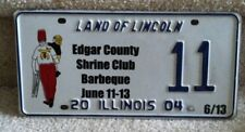 Illinois Specialty License Plate 2004 Edgar County Shrine Club Barbeque  #11