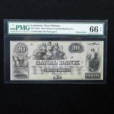 $20 1850's Canal Bank- Louisiana, New Orleans, PMG 66 EPQ Gem Unc, LA105G36a
