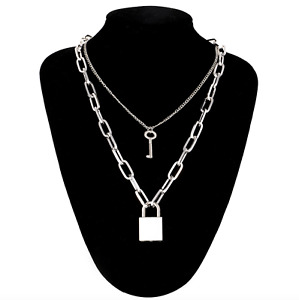 Double Layer Chain Necklace Lock Pendant Silver Punk Gothic Fashion