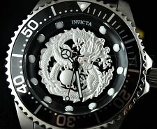 New Invicta Men 47mm Grand Diver SILVER Dragon Automatic Midnight Black SS Watch