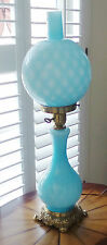 ANTIQUE FENTON TURQUOISE BLUE CASE GLASS  PARLOR LAMP DOUBLE LIGHT