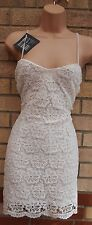 BOOHOO WHITE FLORAL CROCHET STRAPPY BODYCON LACE SEXY SUMMER TUBE DRESS 12 M