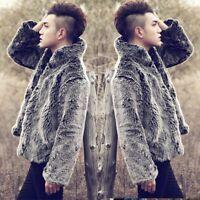 Men Faux Fox Fur Coat Jacket Stand Collar Outwear Handsome Waistcoat Short Coat