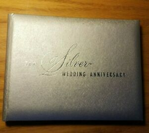 "C.R. Gibson Silver Wedding Anniversary Guests Gift Book W1332 Ivory 7 1/2"" x 6"""