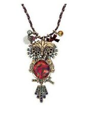 BETSEY JOHNSON GOLD TONE CHAIN+PURPLE CORD,COLORFUL CRYSTALS OWL CHARM NECKLACE