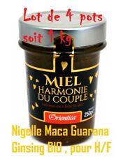 "1 kg""Harmonie du Couple"" H/F.4 Miel +Nigelle Maca Guarana Ginsing BIO Made in Fr"