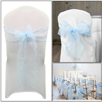 100 Baby Blue Organza Sashes Chair Cover Bow Sash Wider Fuller Bow Wedding Party