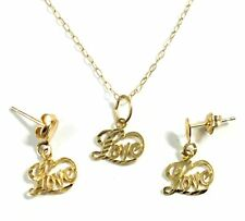 """.375 9ct YELLOW GOLD Diamond Cut """"Love"""" Necklace & Earring Set, 1.23g - Y96"""