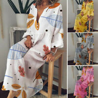 ZANZEA Womens Floral V Neck Long Sleeve Beach Dress Ladies Oversize Loose Kaftan