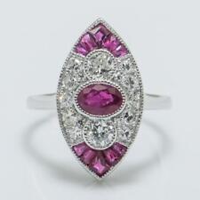 Art Deco SOLID 18k White Gold 1.61ctw Genuine H-SI2 Diamond & Ruby Ring 3.6g