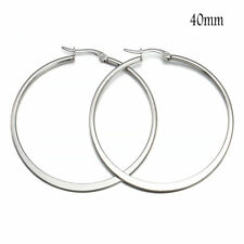 Unique Womens Black/Silver/Rose Gold/Gold Stainless Steel Big Oval Hoop Earrings