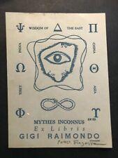 Fingesten. ex libris di Peter Fingesten 1916-1987 per Gigi Raimondo, firmato