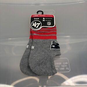 New England Patriots Socks '47 Brand Large Gray Pair Men's 9-13 Women's 10-12