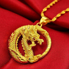 Smart Dragon Pendant Necklace Chain Solid Women Cool Men 24K Yellow Gold Filled