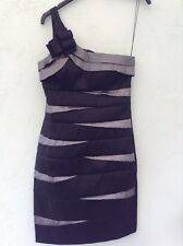 LADIES LINED ONE SHOULDER DRESS SZE 6 FRM SCARLETT NITE BLACK/SILVER WITH DETAIL