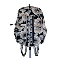 Vera Bradley Womens Floral Backpack Quilted Black Gray