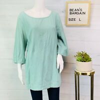 Soft Surroundings Womens Gauze Tunic Textured Top Green 3/4 Sleeves Size Large L