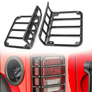 Rear Steel Taillight Cover Protector Black For Jeep Wrangler Unlimited 2007-2017