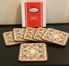 Vintage Pimpernel Drink Coasters Set of 6 Acrylic Cork Back Made in England