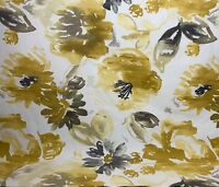 Richloom Estelle Daffodil Watercolor Grey Gold Large Floral Fabric By The Yard