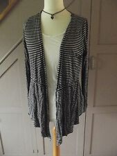 George Two Piece Jersey Black & Grey Striped Corded Cardigan & White Vest UK 14
