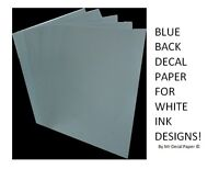 BLUE BACK Water Slide Decal Paper A4 - INKJET - LASER - 5 Pack Sizes