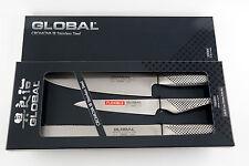 GLOBAL Kochmesser  3er Set - 20cm/15cm/22cm Klinge in Geschenkbox G-9211R