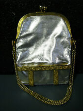 Vtg Rare Metallic Silver I. Magnin Handbag Purse Cocktail Retro Bag Gold France