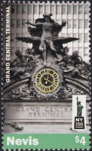 GRAND CENTRAL TERMINAL Train Station Statue New York City Stamp (2016 Nevis)